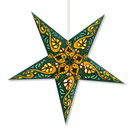 Celtic Star Lantern in Green - Click Image to Close