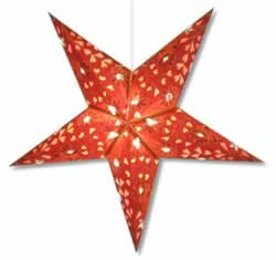 Hearts and Flowers Star Lamp in Burgundy